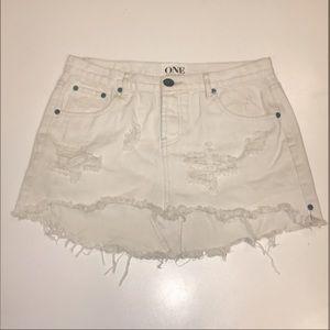 One Teaspoon Junkyard Mini Skirt in White